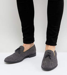 Asos Wide Fit Tassel Loafer in Gray and Black Print