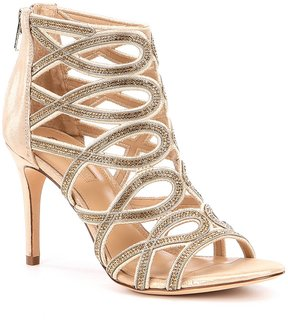 Antonio Melani Pagee Chainstone Detial Metallic Leather Dress Sandals