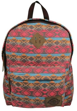 Dickies® Printed Classic Canvas Backpack Handbag with Front Zip Pocket - Pink/Multicolor