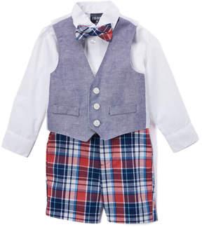 Izod White Button-Up & Suspenders Set - Toddler