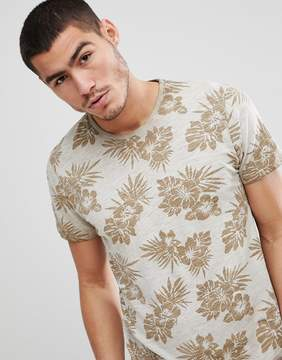 Solid Slub T-Shirt With Tropical Floral Print