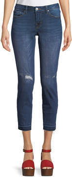 Dex Madison Low-Rise Distressed Cropped Jeans, Blue