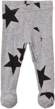 Nununu Heather Grey Star Print Footed Leggings