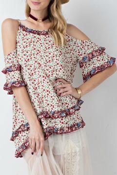 Easel Floral Cold-Shoulder Tunic