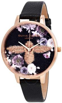 Olivia Burton 3D Bee Embroidered Black Dial Ladies Watch