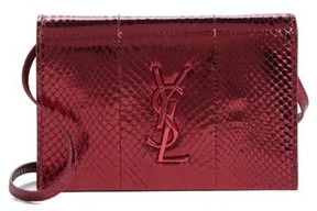 Saint Laurent Toy Kate Metallic Snakeskin Crossbody Bag - Burgundy - BURGUNDY - STYLE