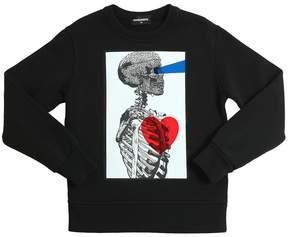 DSQUARED2 Skeleton Print Cotton Sweatshirt