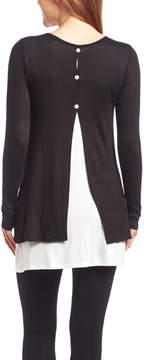 Celeste Black & White Button-Back Layered Tunic - Women