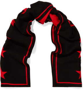Givenchy Intarsia Wool And Silk-blend Scarf - Black