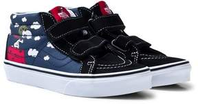 Vans Blue and Black SK8 Mid-Top Reissue Flying Ace Peanuts Trainers