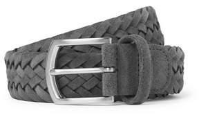 Andersons Anderson's 3.5cm Grey Woven Suede Belt