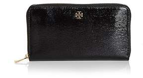 Tory Burch Robinson Zip Patent Leather Continental Wallet - BLACK/GOLD - STYLE