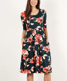Hunter Green Floral Pocket Midi Dress - Women
