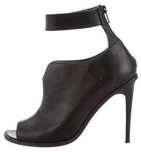 Tibi Leather Peep-Toe Ankle Boots