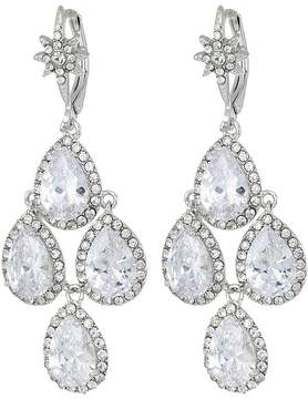 Betsey Johnson Blue by Silver Tone Chandelier with Crystal CZ Teardrop-Shaped Stones and Star Accent Earrings Earring