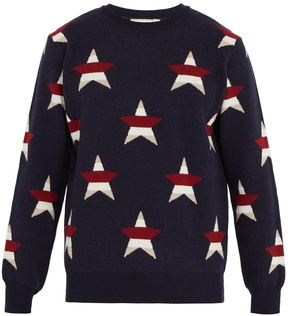 MAISON KITSUNÉ Star-intarsia wool and cashmere-blend sweater