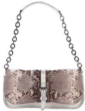 Longchamp Embossed Leather Flap Bag