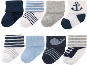 Luvable Friends Blue & White Stripe Marine Eight-Pair Socks Set - Infant