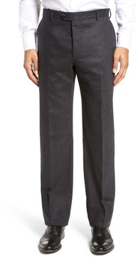 Hickey Freeman Men's Classic B Fit Flat Front Solid Wool Blend Trousers