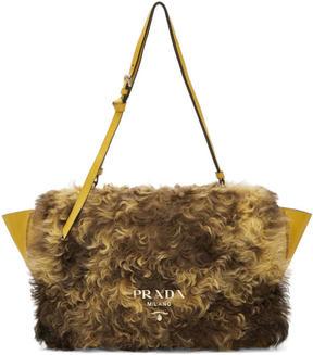 Prada Yellow Shearling Messenger Bag