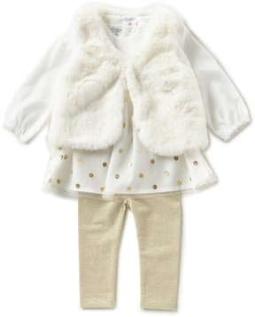 Starting Out Baby Girls 3-24 Months Long-Sleeve Dress, Faux-Fur Vest, & Leggings 3-Piece Set