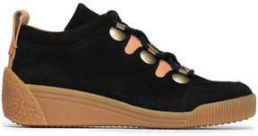 See by Chloe Leather-Trimmed Suede Wedge Sneakers