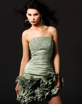 Blush Lingerie Strapless Sequined Floral Cocktail Dress 9160