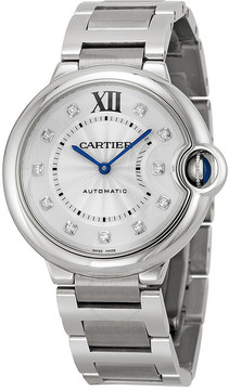 Cartier Ballon Bleu Silver Diamond Dial Unisex Watch