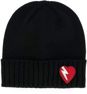 Saint Laurent lightning bolt heart patch hat