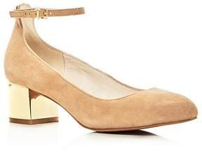 Kenneth Cole Thalia Ankle Strap Metallic Block Heel Pumps