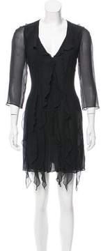 Emporio Armani Ruffle-Trimmed Mini Dress