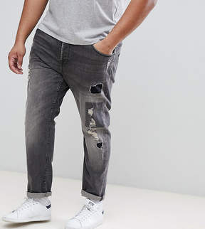 ONLY & SONS PLUS Slim Fit Jeans With Rip Repair And Patch Details