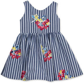 Rare Editions Embroidered Flower & Stripe Dress, Baby Girls