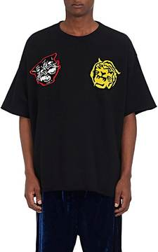 Facetasm Men's College Appliquéd Cotton Oversized T-Shirt