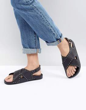 Office Supernova Black Studded Cross Front Sandals