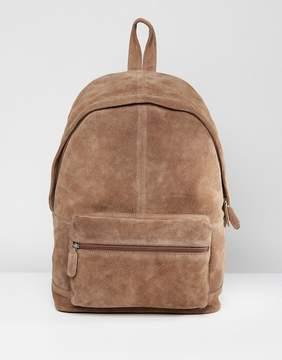 Asos Backpack In Tan Suede