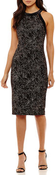Bisou Bisou Sleeveless Velvet Leaf Sheath Dress