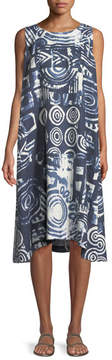 eskandar Sleeveless Printed Linen Shift Dress