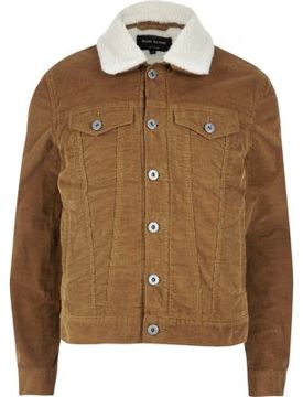 River Island Mens Brown fleece lined corduroy jacket