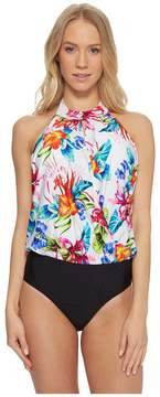 Athena Tropical Trip High Neck Blouson Maillot Women's Swimsuits One Piece