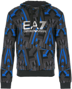 Emporio Armani abstract print logo hoody