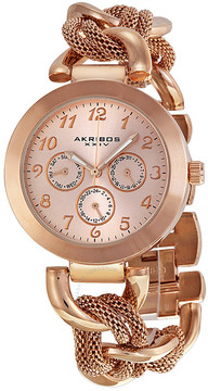 Akribos XXIV Akribos GMT Multi-Function Rose Gold-Tone Ladies Watch AK564RG