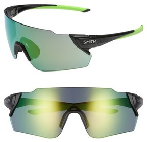 Smith Women's Attack Max 125Mm Chromapop(TM) Polarized Shield Sunglasses - Matte Black Reactor/ Green