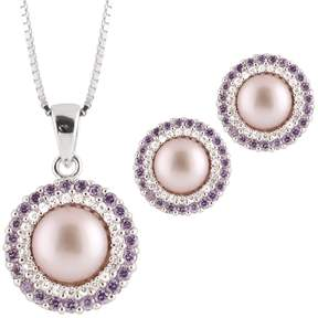 Bella Pearl Sterling Silver Pink Pearl Pendant Necklace and Earring Set