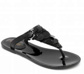 Rachel Zoe | Sylvia Embellished Leather Thong Sandals | 10 us | Silver