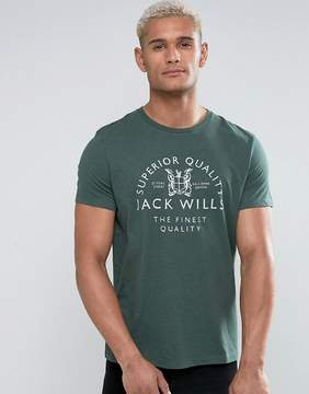 Jack Wills Westmore Front Graphic T-Shirt In Green