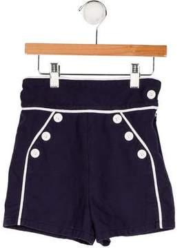 Oscar de la Renta Girls' Button-Accented High-Rise Shorts