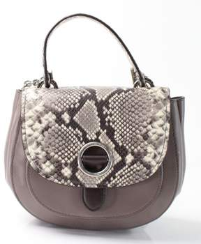 Michael Kors MICHAEL Womens Isadore Leather Snake Print Saddle Handbag - GRAYS - STYLE