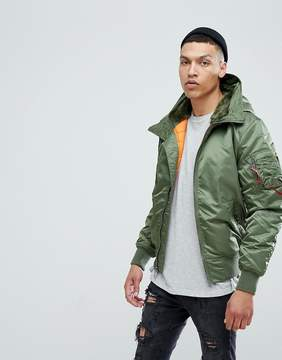 Alpha Industries MA-1 Hooded Insulated Bomber Jacket Faux Fur Lined Hood in Sage