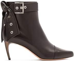 Alexander McQueen Horn effect-heel leather ankle boots